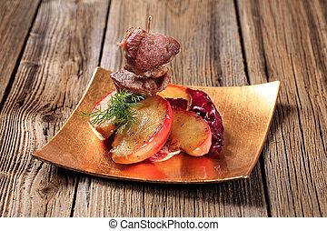 asado, manzana, carne