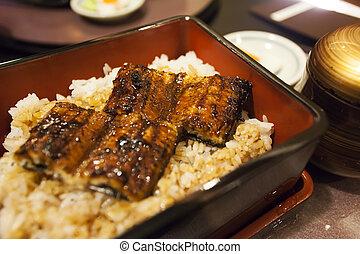 asado parrilla, anguila, arroz, tazón