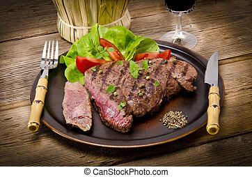 asado parrilla, barbacoa, steak.