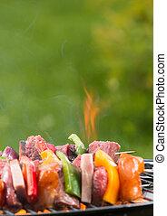 asado parrilla, brocheta, fuego