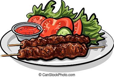 asado parrilla, caliente, kebab
