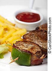asado parrilla, cerdo, fríe, filete, francés