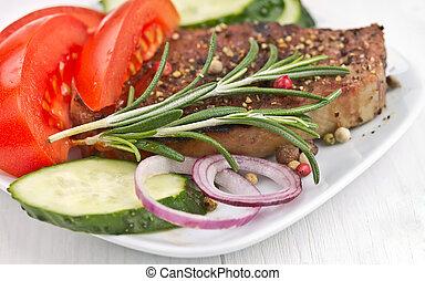 asado parrilla, filete, carne, con, vegetables.