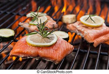 asado parrilla, fuego, salmón, filetes