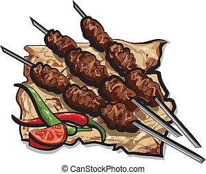 asado parrilla, kebab