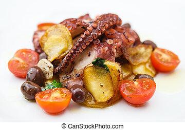 asado parrilla, pulpo, con, vegetales