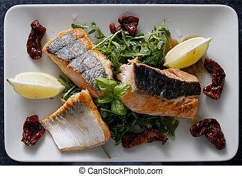 asado parrilla, servido, vegetabl, salmón