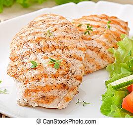 asado parrilla, vegetal, pollo, filete