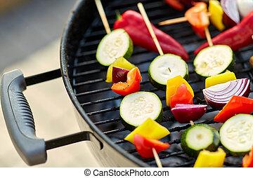 asado, vegetales, encima de cierre, parrilla, brasero