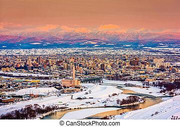 Asahikawa, Japan winter cityscape in Hokkaido