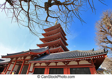 Asakusa temple pagoda in Tokyo, Japan