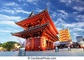 Asakusa temple with pagoda at night, Tokyo, Japan