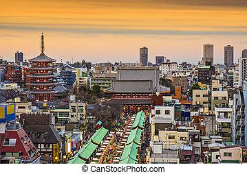 Asakusa, Tokyo, Japan at Senso-ji Temple.