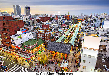Tokyo, Japan Cityscape at the Asakusa District.