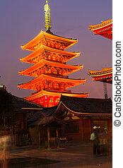 asakusa, tokyo, japonaise, sensoji-ji, japon, temple, rouges