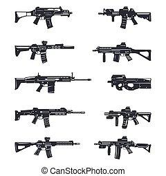 asalto, conjunto, rifles