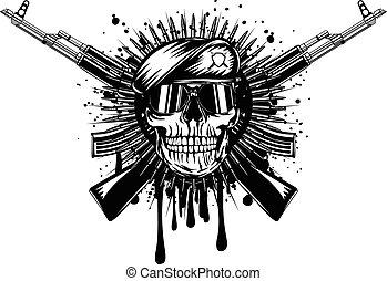 asalto, cruzado, boina, cráneo, rifle