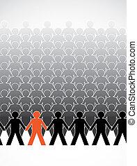 asamblea, de, cifras humanas, consecutivo, -, ilustración