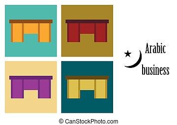 asamblea, de, plano, iconos, en, tema, árabe, oficinacomercial, tabla