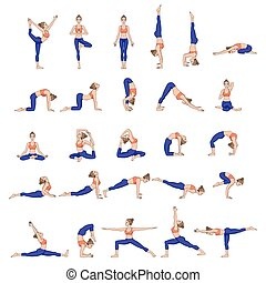 asana, sammlung, silhouettes., poses., frauen, joga, set.