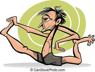 asana, yoga, dessin animé, illustration, homme