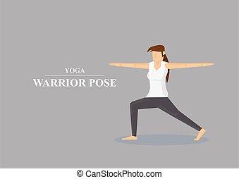 asana, yoga, guerriero, illustrazione, vettore, atteggiarsi