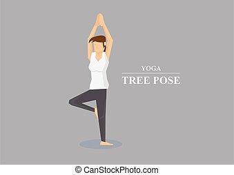 asana, yoga, illustrazione, hatha, vettore, posa albero