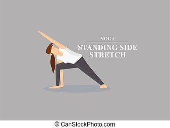 asana, yoga, illustrazione, standing, lato, vettore, estensione, atteggiarsi