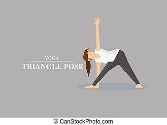 asana, yoga, illustrazione, vettore, posa triangolo
