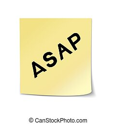 ASAP lettering on sticky note