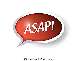 asap message bubble illustration design over white