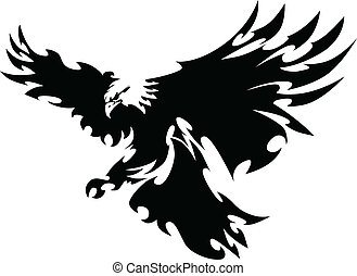 asas, águia, mascote, desenho, voando