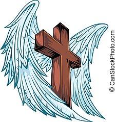 asas anjo, com, madeira, crucifixos