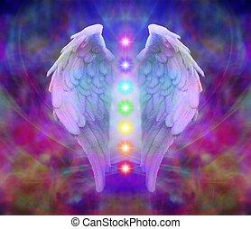 asas anjo, e, sete, chakras