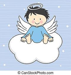asas anjo, ligado, um, nuvem