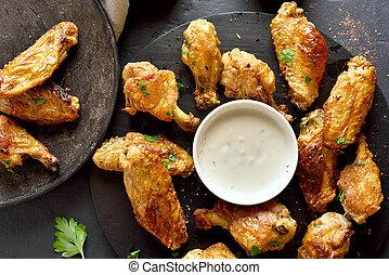 asas assadas frango, com, molho