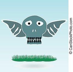 asas, conceito, capim, cranio