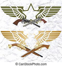 asas, emblemas, braços