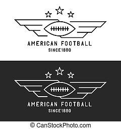 asas, futebol, mockup, voando, torneio, emblema, americano, bola, pretas, magra, fundo, linha, desporto, branca, logotipo
