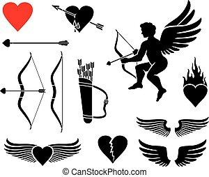 asas, jogo, coração, ícones, couro, arco, valentines, -, flamejante, cupid, quiver), desenho, (arrow, dia