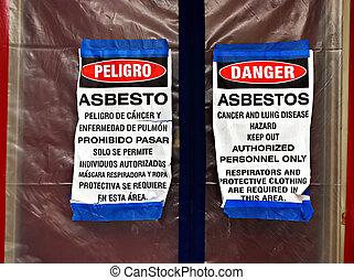 asbest, vermindering, tekens & borden