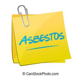 asbesto, poste, memorándum, ilustración, diseño