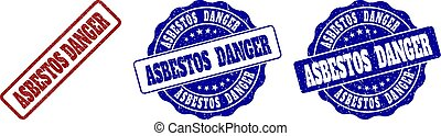 ASBESTOS DANGER Grunge Stamp Seals