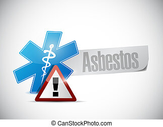 asbestos medical warning sign illustration