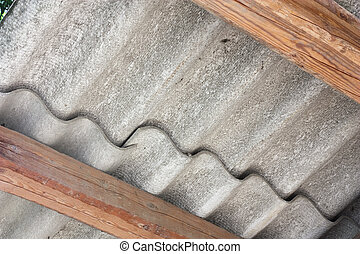 asbestos roof - asbestos cement panels - wavy roof cover on...