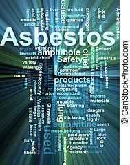 Asbestos word cloud glowing - Word cloud concept...