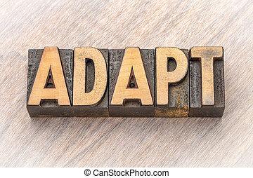 asbtract, mot, -, bois, adapter, type