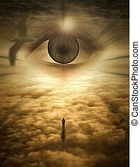 Ascend - Surreal painting. Giant eye in cloudy sky. ...
