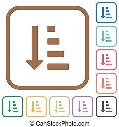 ascendendo, mandado, lista, modo, ícones simples