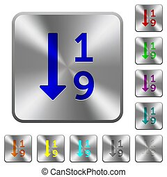 Ascending numbered list rounded square steel buttons